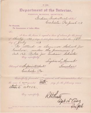Lydia L. Hunt's Request for Leave of Absence to Attend Summer School