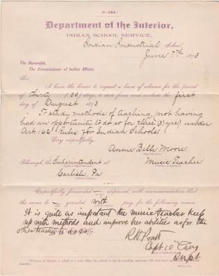 Annie Belle Moore's Application for Leave of Absence