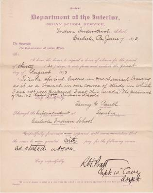 Fanny G. Paull's Request for Leave of Absence