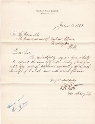 Request for Authority to Rent Telephone for 1894 Fiscal Year