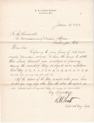 Report of Days Worked by Louis Caswell on Farm