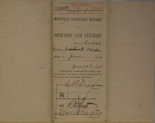 Monthly Sanitary Report of Diseases and Injuries, June 1893