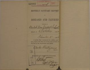 Monthly Sanitary Report of Diseases and Injuries, October 1893