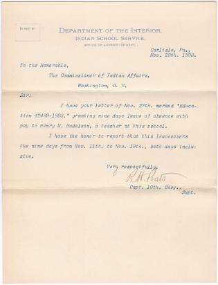 Report of Henry M. Hudelson's Leave of Absence
