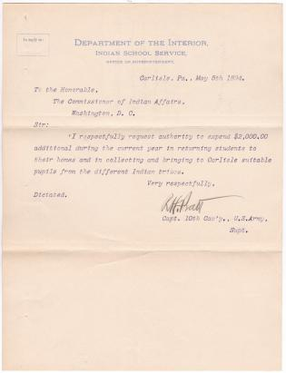 Request for Additional Transportation Funds in Fiscal Year 1894