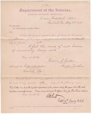 Emma A. Cutter's Application for Leave of Absence