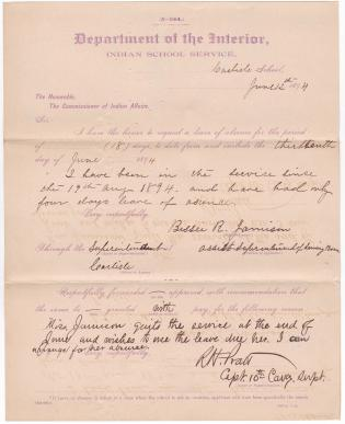 Bessie R. Jamison's Request for Leave of Absence