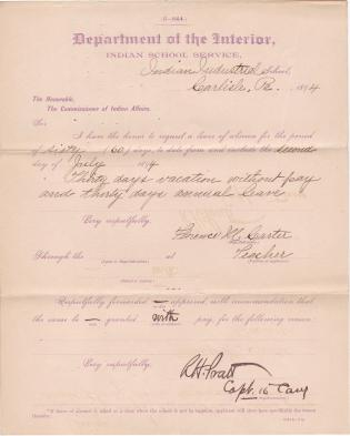 Florence M. Carter's Application for Leave of Absence and Annual Leave