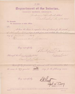 Philip L. Drum's Application for Leave of Absence
