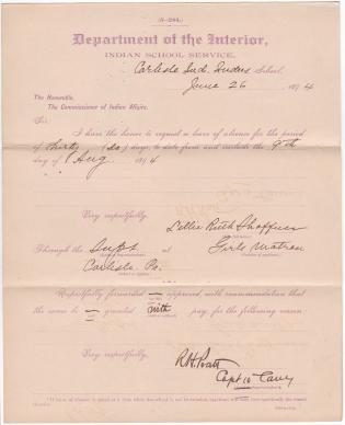 Lillie Ruth Shaffner's Application for Annual Leave of Absence