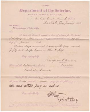Tennyson L. Deavor's Application for Leave of Absence