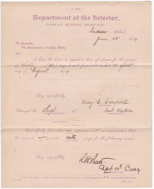 Mary E. Campbell's Application for Leave of Absence