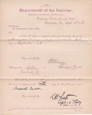 W. R. Claudy's Application for Annual Leave of Absence