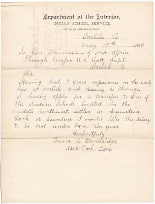 Laura A. Dandridge Requests Transfer in the Indian Service
