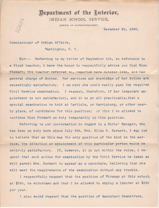 Request to Retain Anna H. Stewart as Sloyd Along with Other Changes