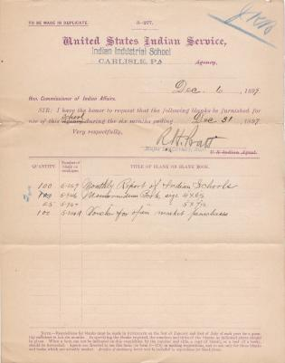 Requisition for Blanks and Blank Books, December 1899