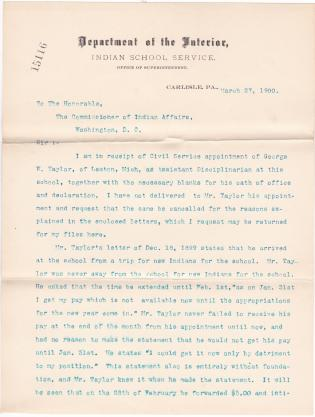 Request to Cancel Appointment of George W. Taylor