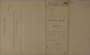 Efficiency Report of Employees, April 1901