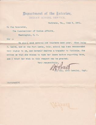 Daisy C. Laird's Request for Leave of Absence before Becoming Teacher at Carlisle