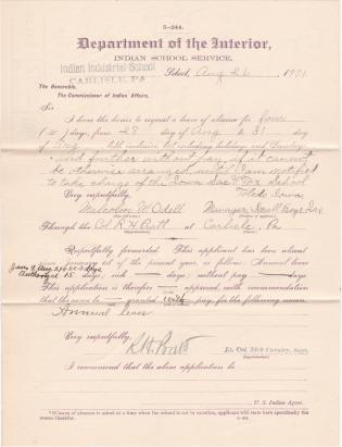 Malcolm W. Odell's Application for Leave of Absence Without Pay