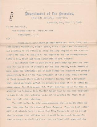 Correspondence Regarding the Request to Return Lucy and Henry Sampson