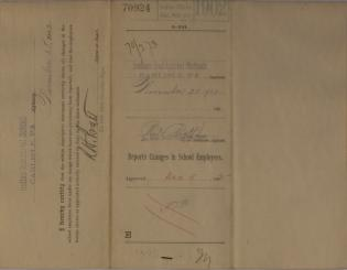 Descriptive Statements of Changes in School Employees and Resignation, November 1902