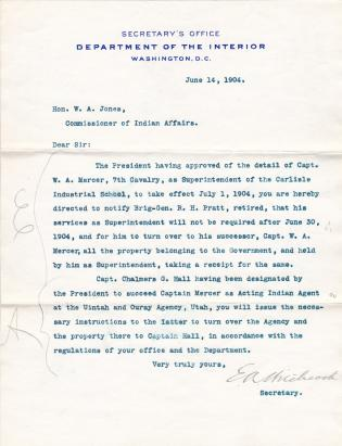 Hitchcock Instructs Jones to Order Pratt to Turn Over Government Property
