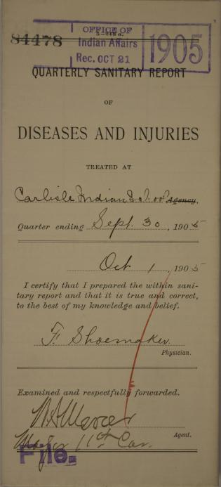 Quarterly Sanitary Report of Diseases and Injuries, September 1905