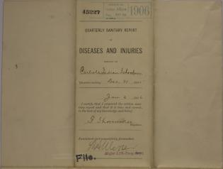 Quarterly Sanitary Report of Diseases and Injuries, December 1905
