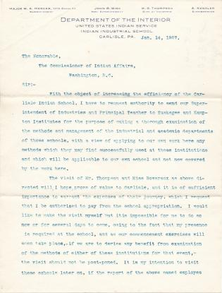Request for Staff to Visit Tuskegee and Hampton
