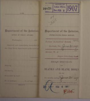 Requisition for Blanks and Blank Books, February 1907