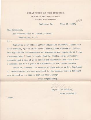 Recommendation for Charles Dillon to Reenter the Indian Service