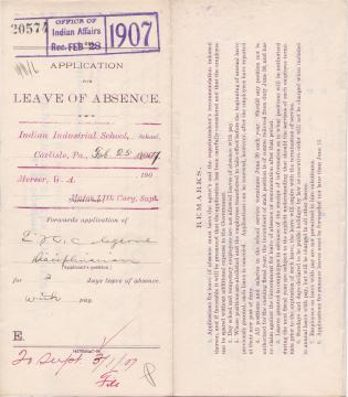 Edward H. Colegrove's Application for Annual Leave of Absence