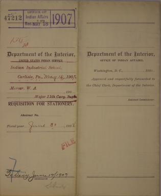 Requisitions for Blanks and Blank Books and Stationery, October 1907