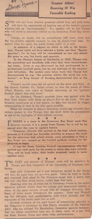 Letters And Articles Concerning Jim Thorpe's Olympic Victories