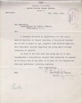 Correspondence For Application For Enrollment of Edward Anderson