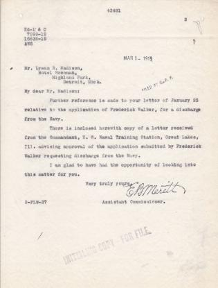Frederick Walker's Request To Be Released From The Navy