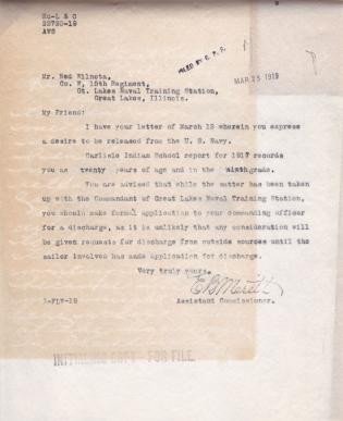 Ned Wilnota's Discharge From The US Navy