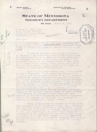 Eligibility of George W. Tibbetts for Minnesota Soldiers' Bonus Act