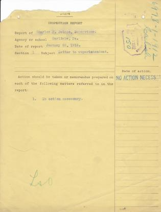 Response to Inspection Report of Charles F. Peirce for January 1912