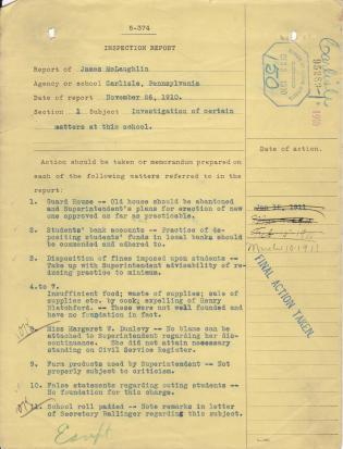 Inspection Report of James McLaughlin for November 1910