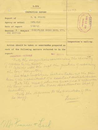 Discipline Inspection Report of H. B. Peairs for May 1915