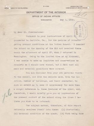 Inspection Report of J. H. Dortch for May 1915