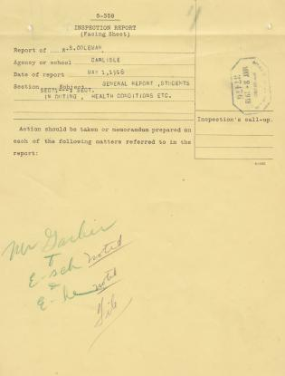 Inspection Report of W.S. Coleman for May 1918