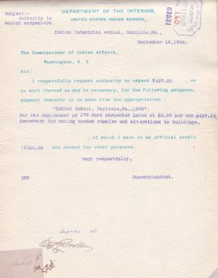 Authorization to Pay Carpenters for Repair Labor