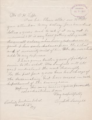 Employee Requests for Raises and Housing Allowances, 1914