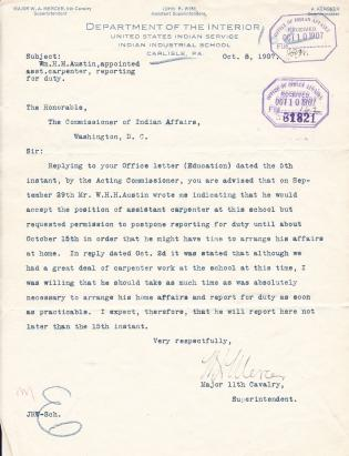 Appointment of William H. H. Austin as Assistant Carpenter