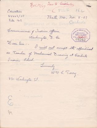Declination of Appointment for William C. Terry