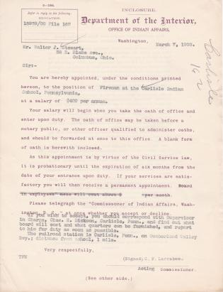 Appointment of Walter Stewart as Fireman
