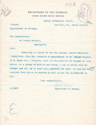 Failure of Walter Stewart to Report for Duty